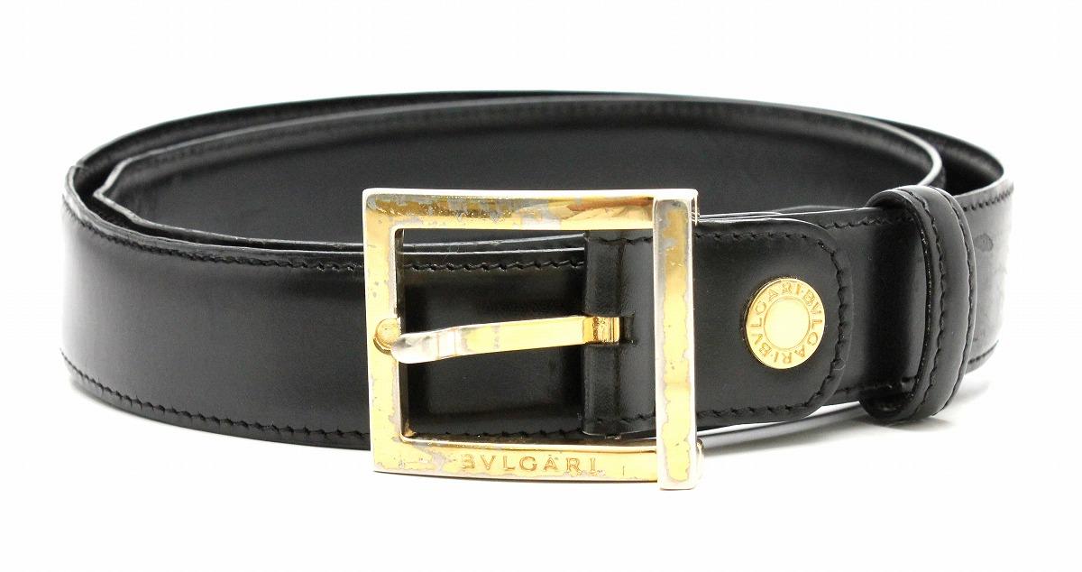 BVLGARI ブルガリ ベルト メンズ レザー 黒 ブラック ゴールド金具 【中古】【k】