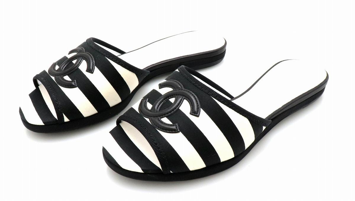 【靴】CHANEL シャネル サンダル レザー ココマーク ホワイト 白 ブラック 黒 サイズ36 22.5cm 【中古】【k】