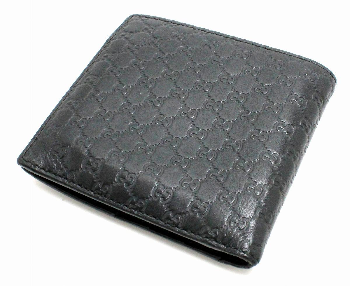 038519f3f3e8 【財布】GUCCIグッチマイクログッチシマ2つ折り財布レザーブラック黒アウトレット品1504130416