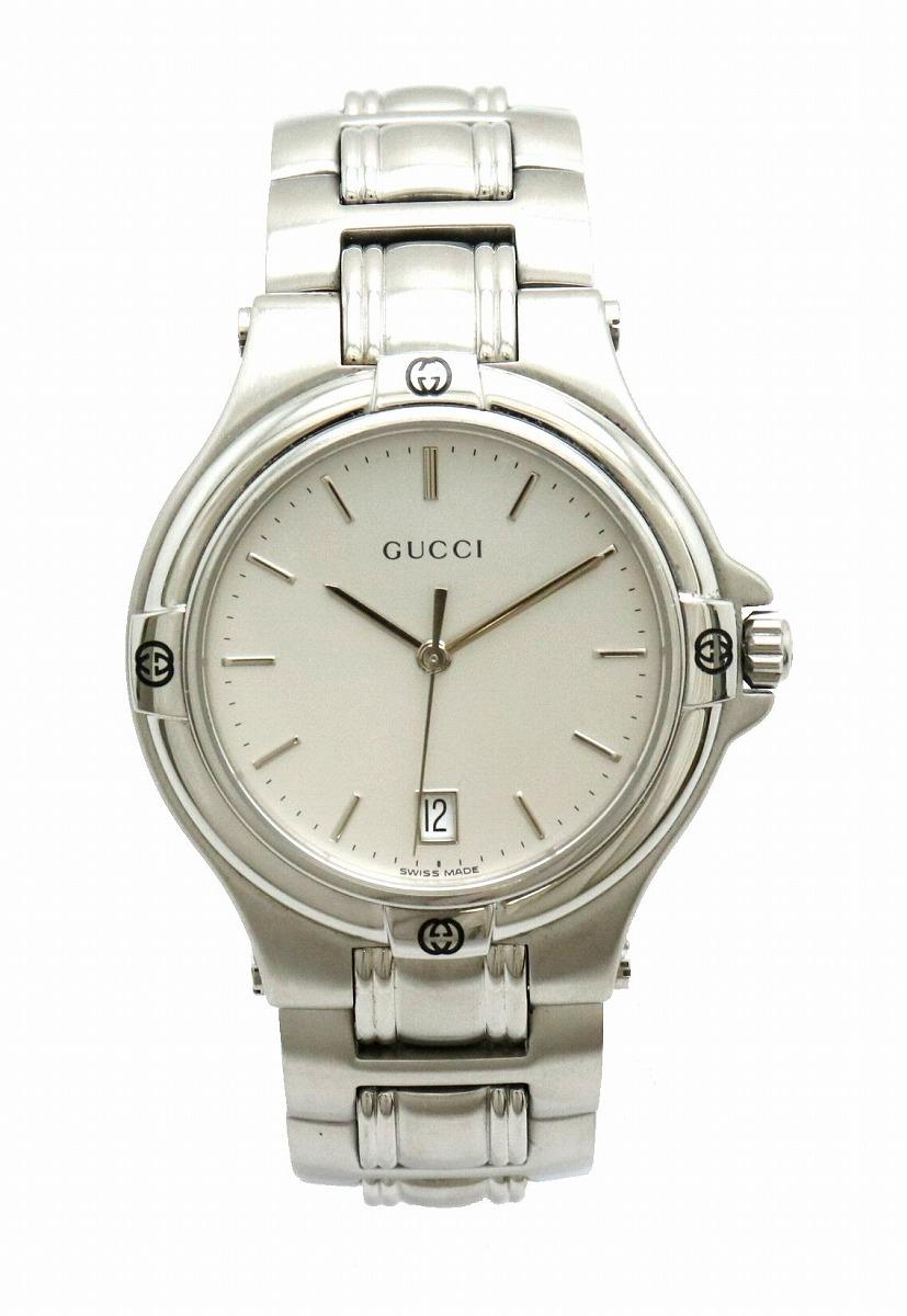 【ウォッチ】GUCCI グッチ シルバー文字盤 デイト SS メンズ QZ クォーツ 腕時計 9040M 【中古】【k】
