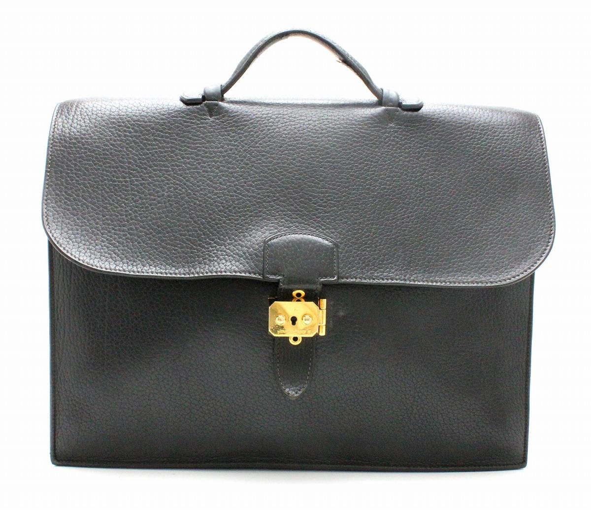 【バッグ】HERMES エルメス サックアデペッシュ38 ビジネスバッグ ブリーフケース 書類カバン ハンドバッグ トゴ 黒 ブラック ゴールド金具 #□F 【中古】【k】