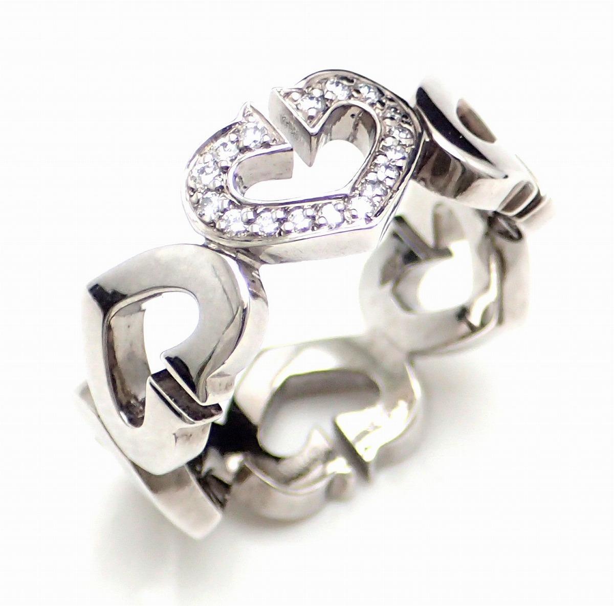 【ジュエリー】【新品仕上げ済】Cartier カルティエ Cハート 1モチーフ パヴェ ダイヤ リング 指輪 K18WG 750WG ホワイトゴールド 9号 #49 【中古】【k】