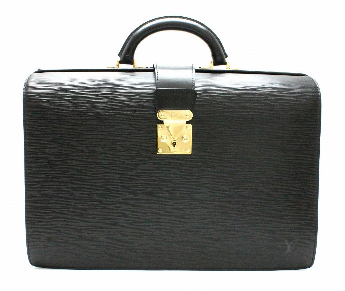 【バッグ】LOUIS VUITTON ルイ ヴィトン エピ セルヴィエット フェルモワール 書類カバン ビジネスバッグ レザー ノワール 黒 ブラック イニシャル入 M54352 【中古】【k】