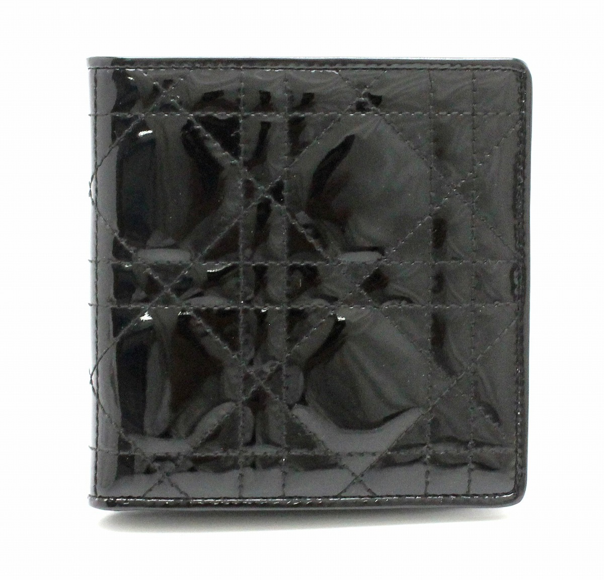 【財布】Christian Dior クリスチャン ディオール レディディオール 2つ折財布 パテントレザー 黒 ブラック 【中古】【k】