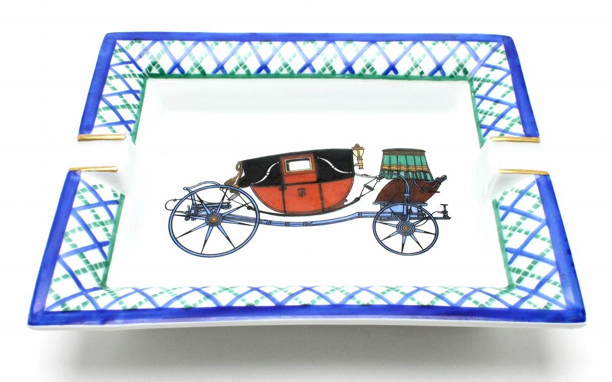 HERMES エルメス アッシュトレイ 灰皿 馬車 braque allemand 磁器 ポーセリン 白 ホワイト ブルー 青 ゴールド 【中古】【k】