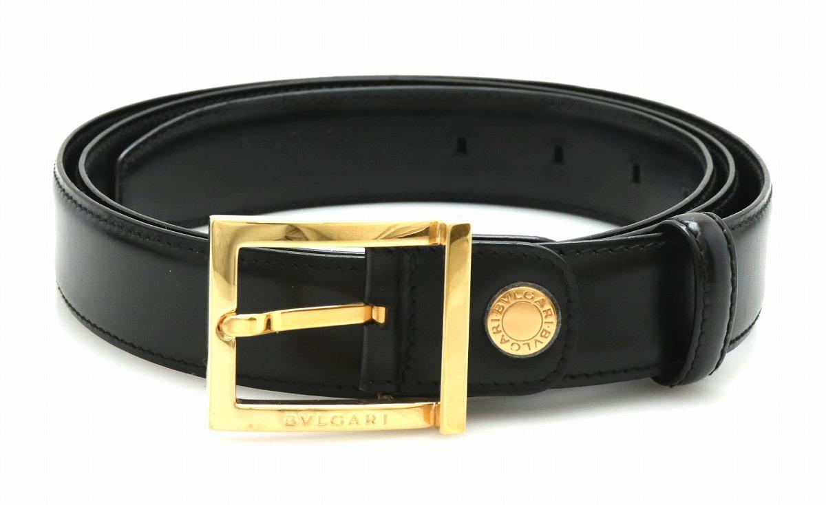 BVLGARI ブルガリ ベルト メンズ レザー #113 黒 ブラック ゴールド金具 【中古】【k】