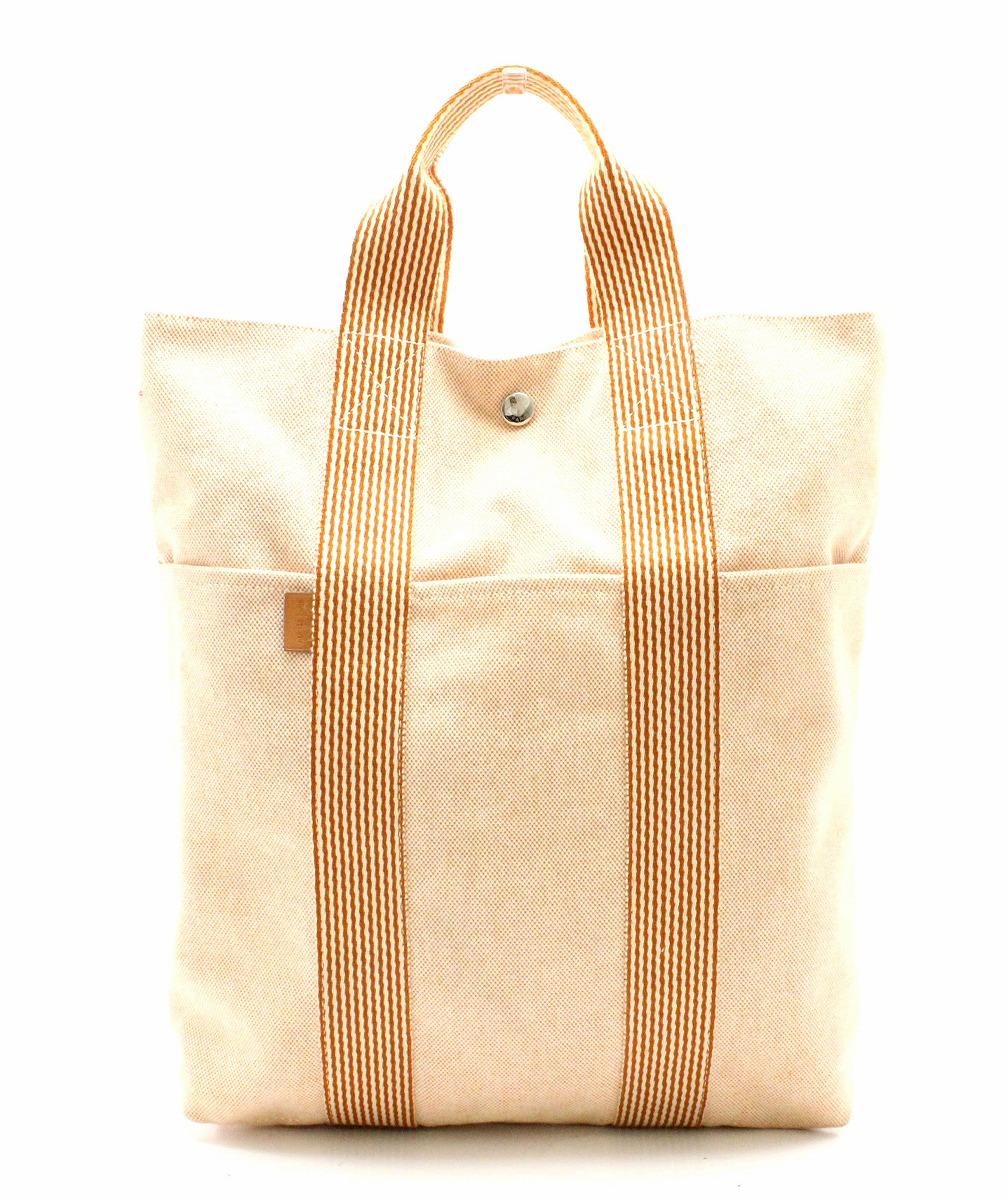 【バッグ】HERMES エルメス ニューフールトゥ カバス ハンドバッグ キャンバス ベージュ オレンジ シルバー金具 【中古】【u】