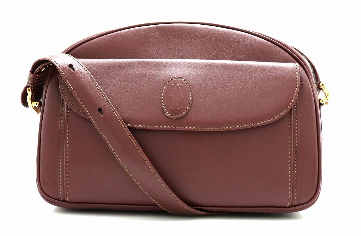 【バッグ】Cartier カルティエ マストライン ショルダーバッグ 肩掛け 斜め掛けショルダー レザー ボルドー 【中古】【k】