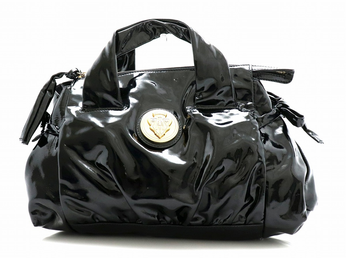 【バッグ】GUCCI グッチ ヒステリア ハンドバッグ トートバッグ パテントレザー 黒 ブラック 197020 【中古】【k】