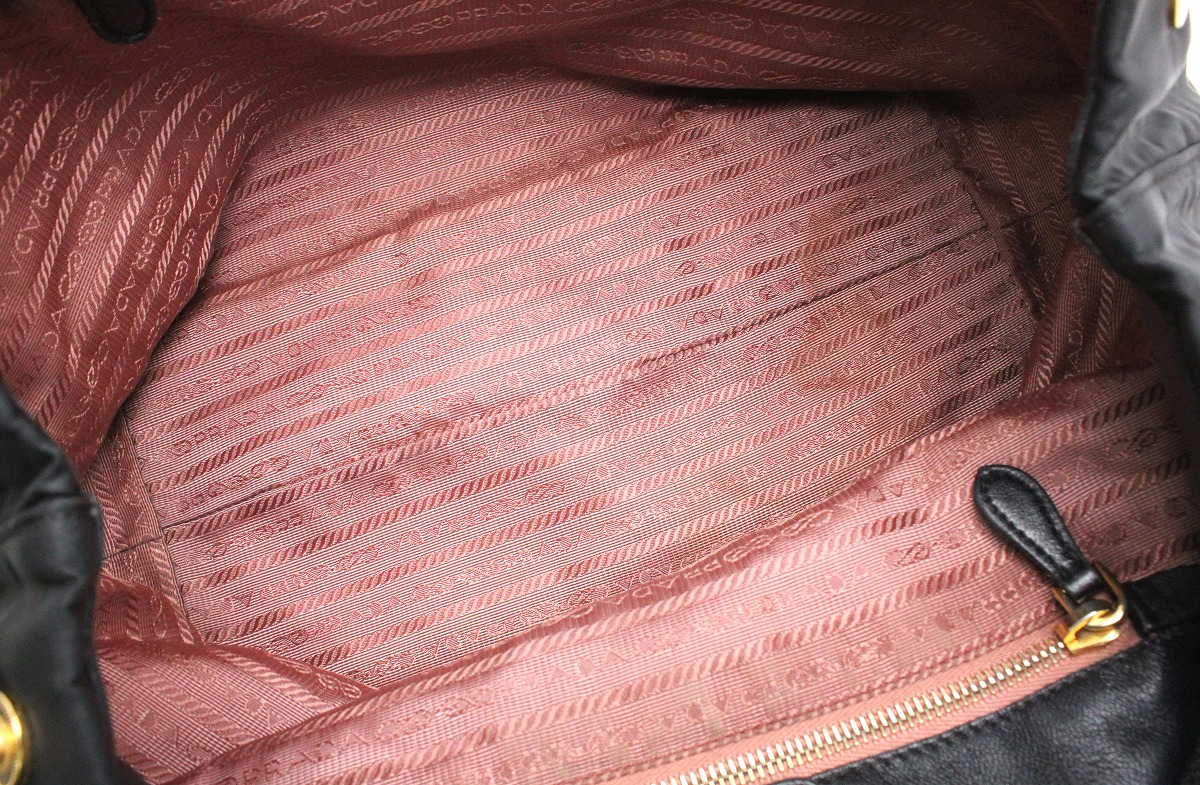 30210e43b8b1 【バッグ】PRADAプラダハンドバッグトートバッグミニトートリボンナイロンキャンバス黒ブラックゴールド金具