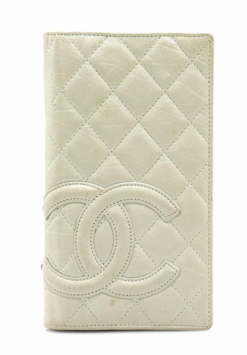 74b56bb0f1dd 【財布】CHANEL シャネル カンボンライン ココマーク 2つ折長財布 レザー ソフトカーフ ホワイト