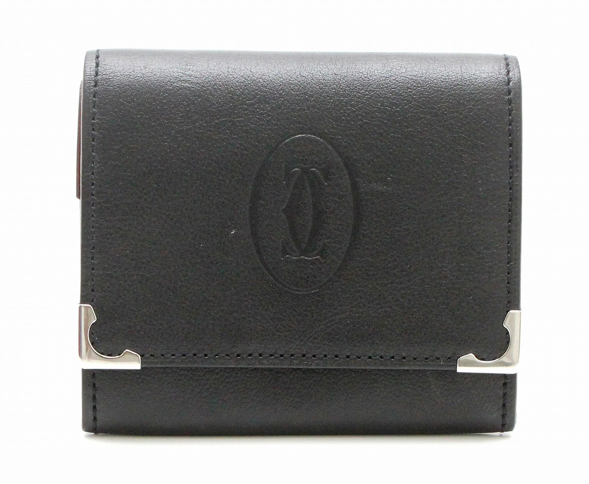 【財布】Cartier カルティエ カボション コインケース 小銭入れ スクエア レザー ブラック ボルドー L3000571 【中古】【k】