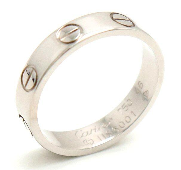 【ジュエリー】【新品仕上げ済】Cartier カルティエ ミニラブリング 指輪 ウエディングリング K18WG ホワイトゴールド 6号 #46 B4085146 【中古】【k】