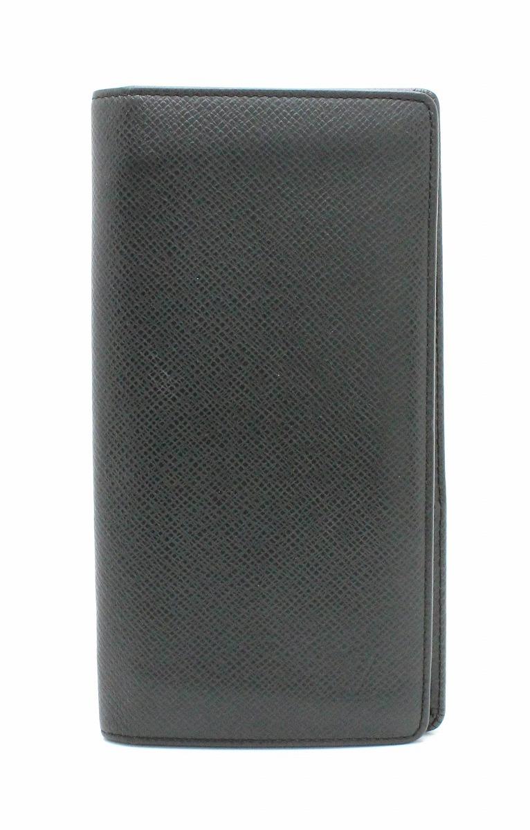 【財布】LOUIS VUITTON ルイ ヴィトン タイガ ポルトフォイユ ブラザ 2つ折長財布 カーフ レザー アルドワーズ 黒 ブラック メンズ M32572 【中古】【k】