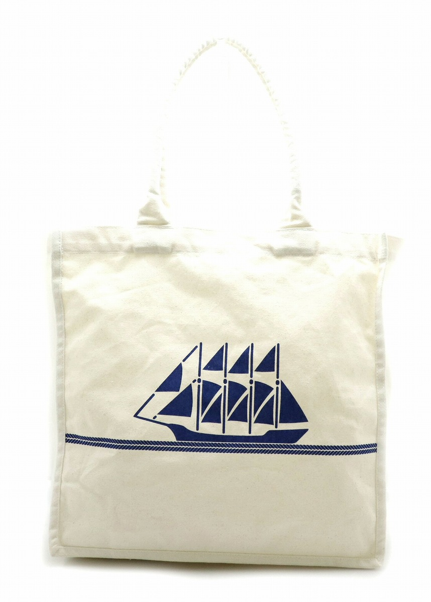【バッグ】CHANEL シャネル トートバッグ ショルダートート ヨット 船 キャンバス アイボリー 白 ブルー 青 【中古】【k】
