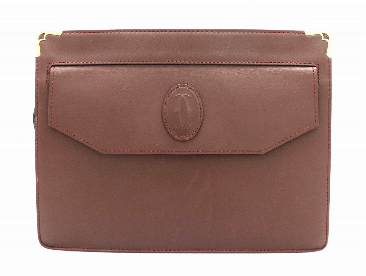 【バッグ】Cartier カルティエ マストライン クラッチバッグ セカンドバッグ レザー カーフ ボルドー ゴールド金具 【中古】【k】