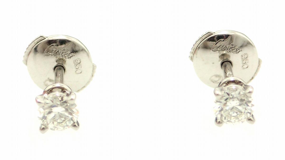 【ジュエリー】 Cartier カルティエ ソリティア スタッド ラウンド ダイヤ ピアス Pt950 プラチナ 約0.25ct×2 【中古】【k】