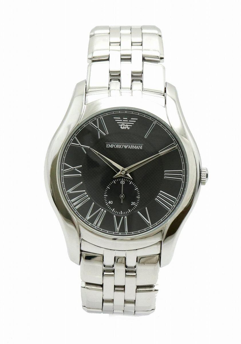 【ウォッチ】 EMPORIO ARMANI エンポリオ アルマーニ スモールセコンド ブラック文字盤 SS クォーツ メンズ 腕時計 AR-1706 AR 1706 【中古】【k】