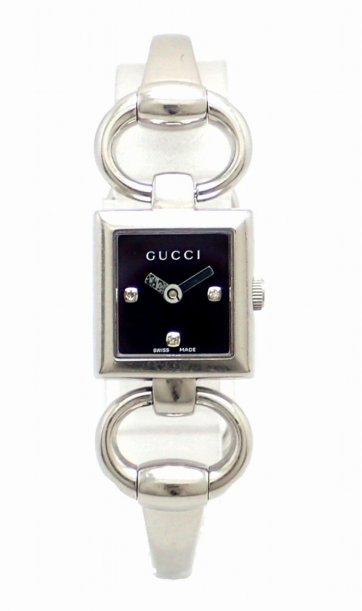 【ウォッチ】GUCCI グッチ トルナヴォーニ ブラック文字盤 3Pダイヤモンド SS レディース QZ クォーツ 腕時計 120 【中古】【k】