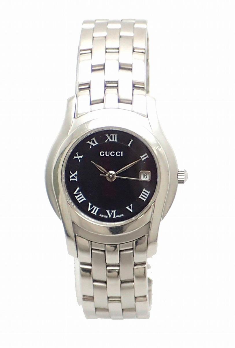【ウォッチ】GUCCI グッチ デイト ブラック文字盤 SS レディース QZ クォーツ 腕時計 5500L YA055302 【中古】【k】