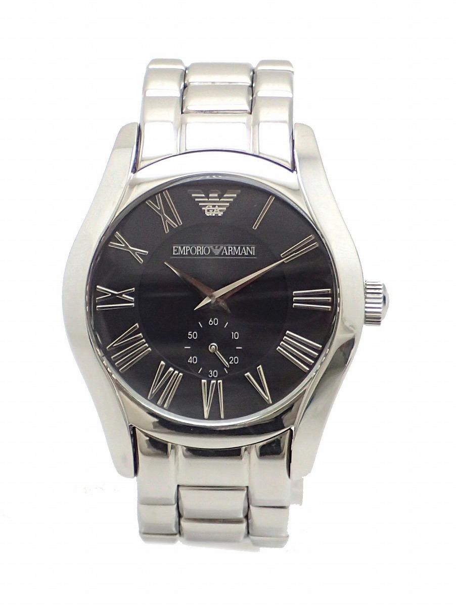【ウォッチ】 EMPORIO ARMANI エンポリオ アルマーニ スモールセコンド ブラックダイアル クォーツ メンズ 腕時計 AR0680 AR-0680 【中古】【k】