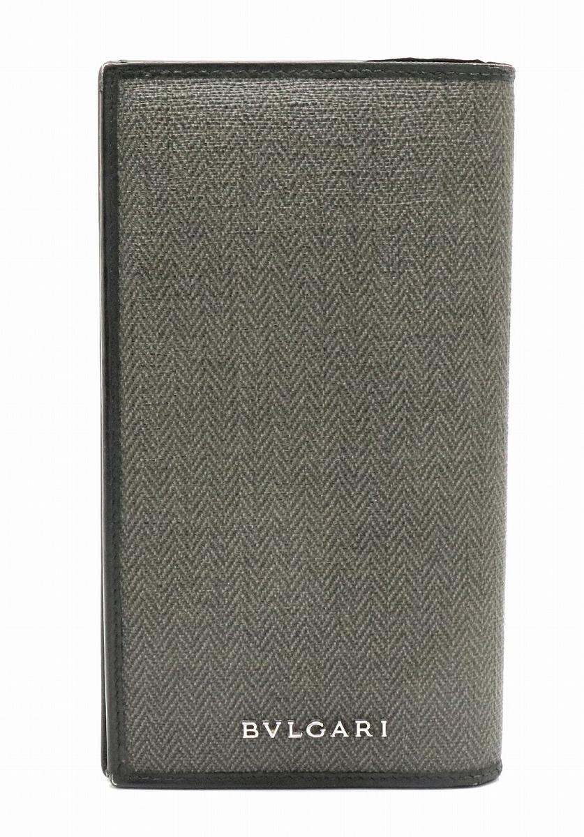 【財布】BVLGARI ブルガリ ウィークエンド 2つ折 長財布 レザー PVC 黒 ブラック グレー シルバー金具 32582 【中古】【k】