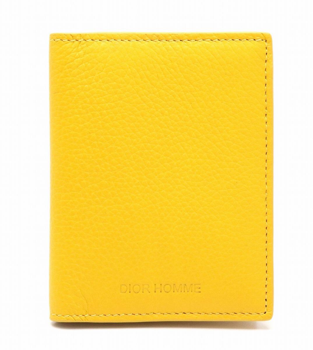 【新品未使用品】Christian Dior クリスチャン ディオール ディオールオム オム カードケース パスケース 名刺入れ レザー イエロー 黄色【k】