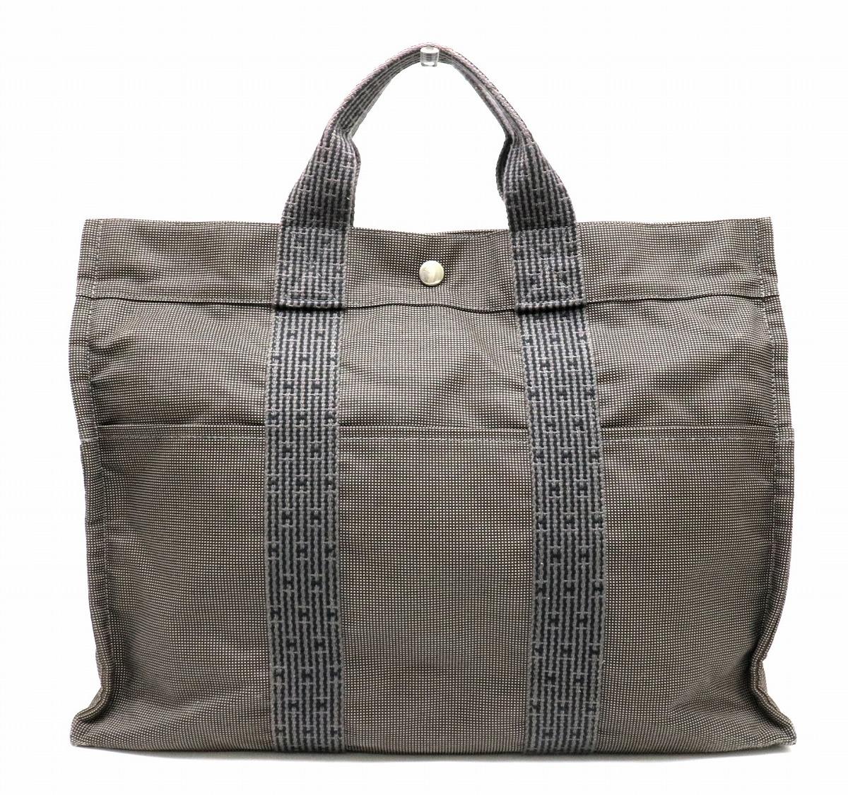 【バッグ】HERMES エルメス エールライン トートMM トートバッグ ハンドバッグ ナイロンキャンバス グレー 【中古】【k】