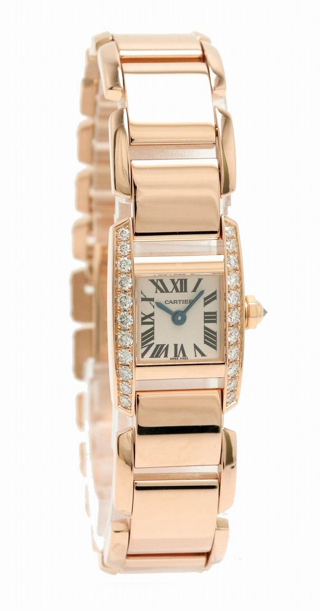 【ウォッチ】【新品仕上げ済】 Cartier カルティエ タンキッシム K18PG 750PG ピンクゴールド ダイヤベゼル レディース クォーツ 腕時計 WE70058H 【中古】【u】