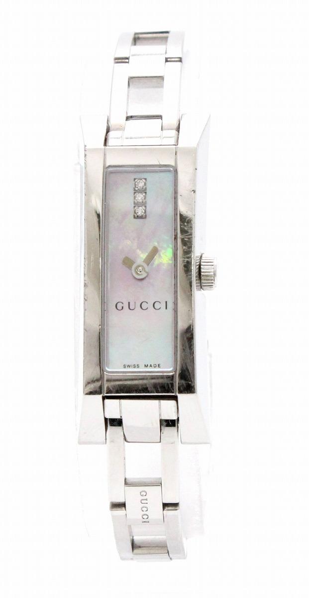 【ウォッチ】GUCCI グッチ Gリンク G-Link ピンクシェル文字盤 3Pダイヤモンド SS レディース QZ クォーツ 腕時計 110 YA110520 【中古】【k】