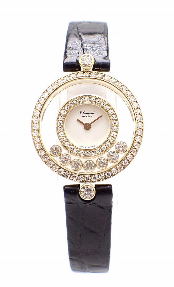 【ウォッチ】Chopard ショパール ハッピーダイヤ 7Pムービングダイヤ ダイヤベゼル K18YG イエローゴールド レディース クォーツ 腕時計 20/3957 【中古】【s】