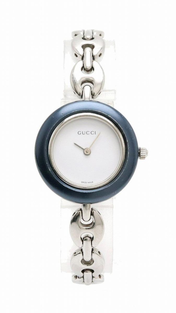 【ウォッチ】GUCCI グッチ チェンジベゼル ホワイト文字盤 SS レディース QZ クォーツ 腕時計 11/12.2L 【中古】【s】