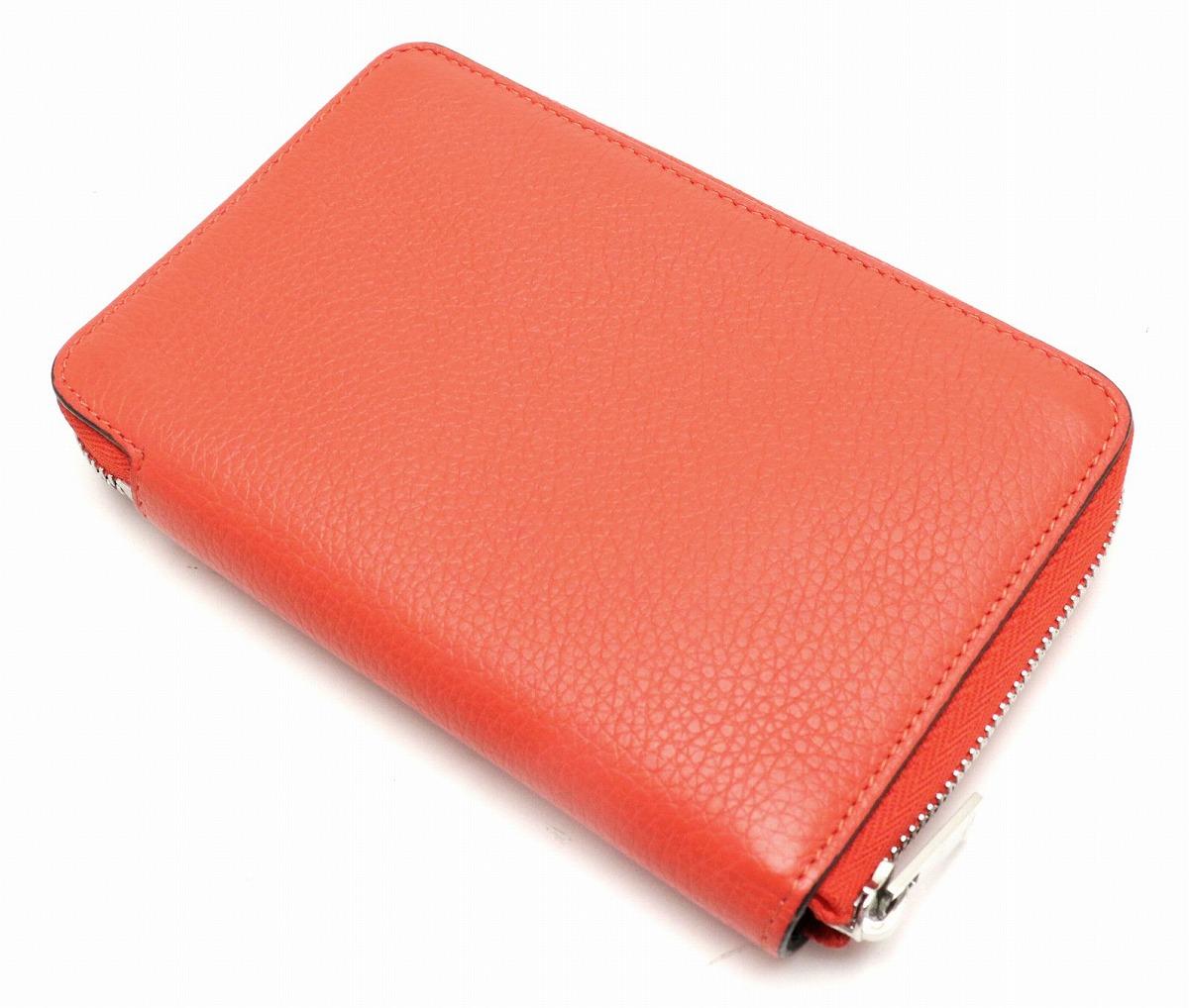 1266c0bc43b2 【財布】CELINEセリーヌミディアムウォレットラウンドファスナー財布レザーオレンジレッド【中古】