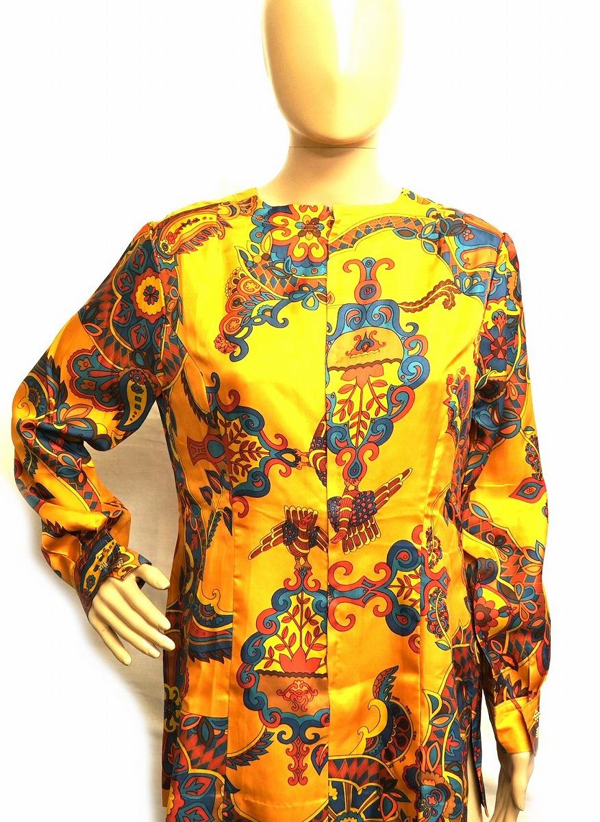 【アパレル】HERMES エルメス スポーツ レディース スカーフ シャツ シルク オレンジ マルチカラー 【中古】【k】