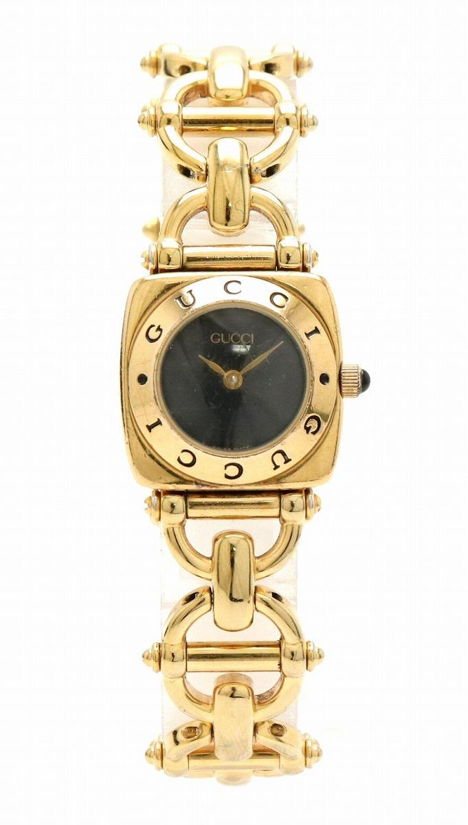 【ウォッチ】GUCCI グッチ ブラック文字盤 GP ゴールドカラー レディース QZ クォーツ 腕時計 6400L 【中古】【k】