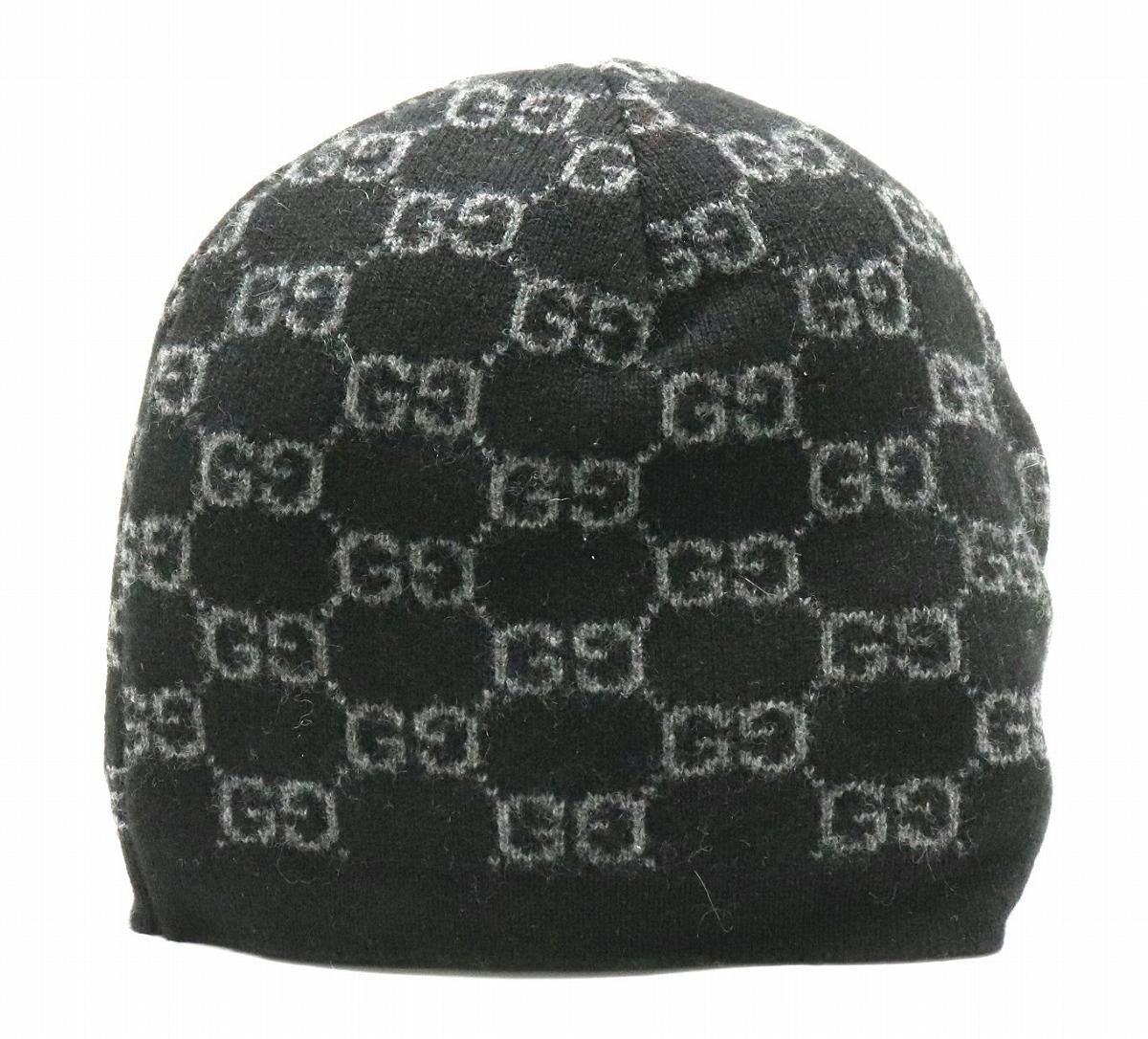 【未使用品】【アパレル】GUCCI グッチ GG ニットキャップ ニット帽 帽子 21cm カシミヤ ブラック 黒 グレー 【中古】【k】