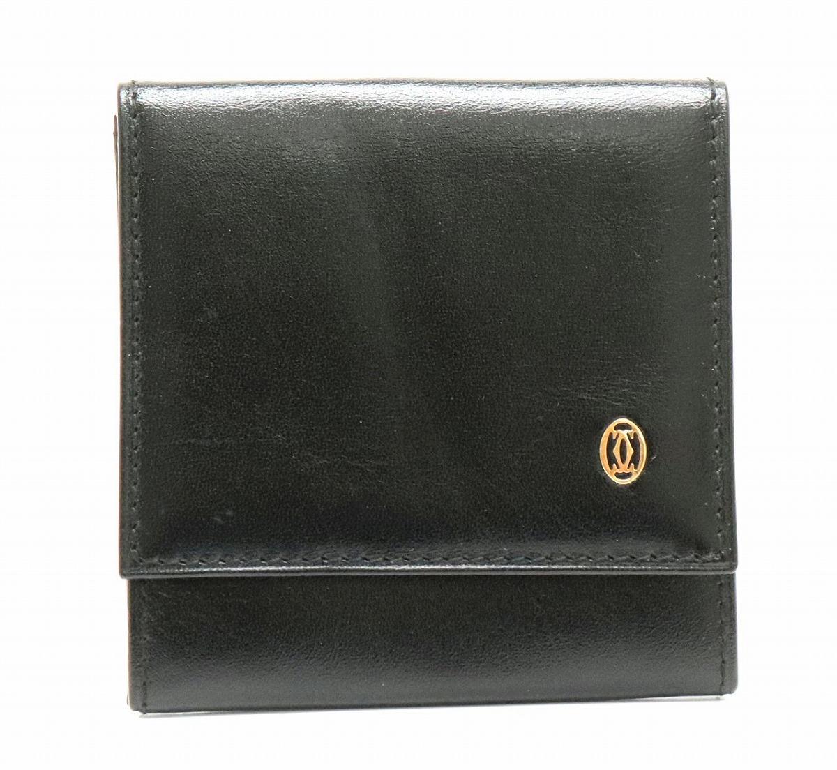 【財布】Cartier カルティエ パシャ コインケース 小銭入れ レザー カーフ 黒 ブラック ゴールド金具 L3000205 【中古】【k】