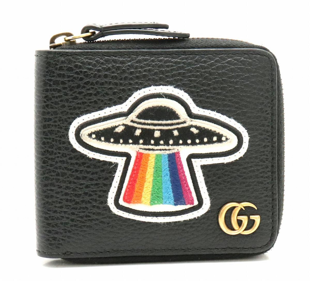 675b9626f9d5 【財布】GUCCI グッチ GGマーモント マーモント UFO ドラゴン パッチワーク 2つ折財布 ラウンド