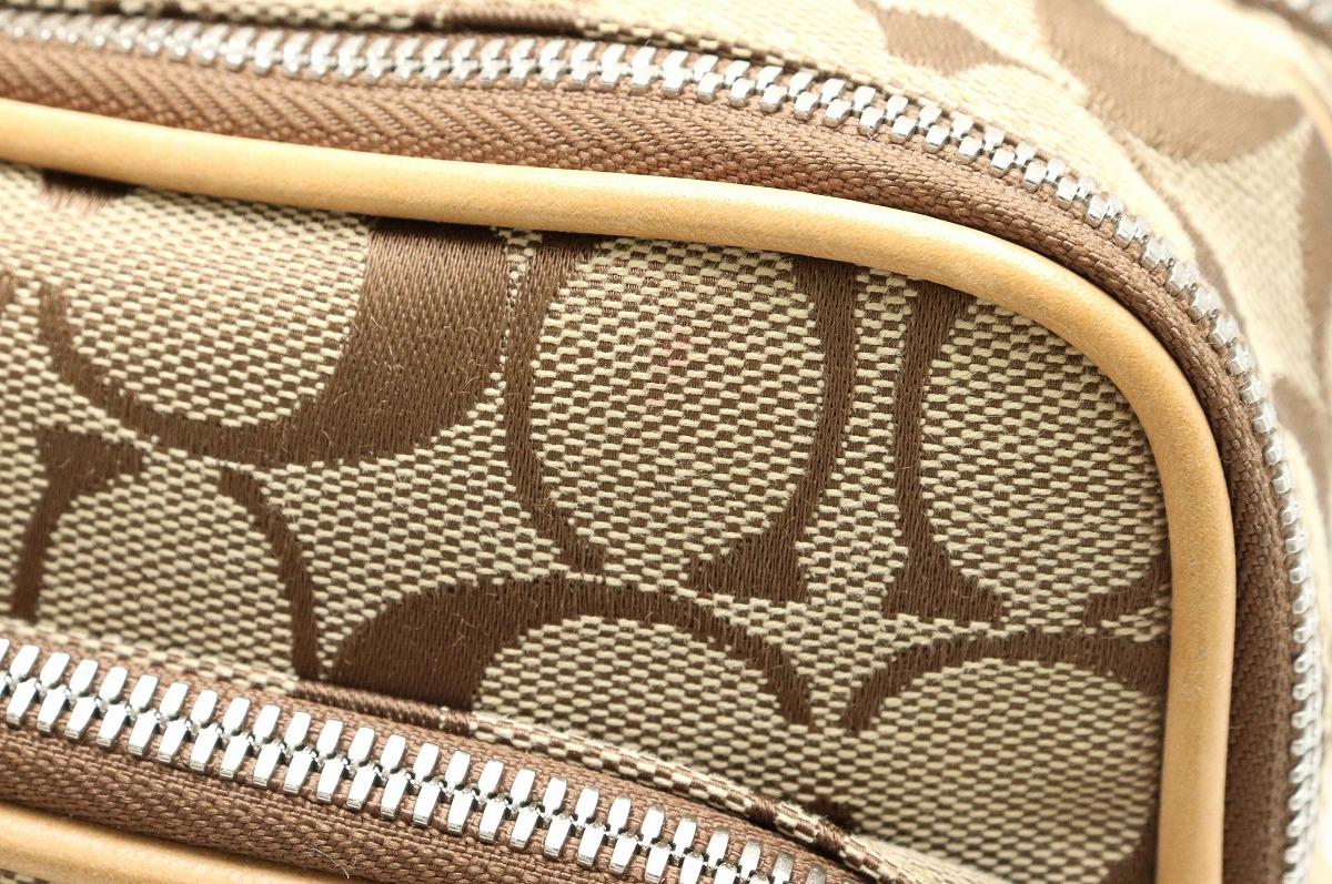 ced573af605f 【バッグ】COACHコーチシグネチャーショルダーバッグ斜め掛けショルダーキャンバスレザーカーキベージュソフト