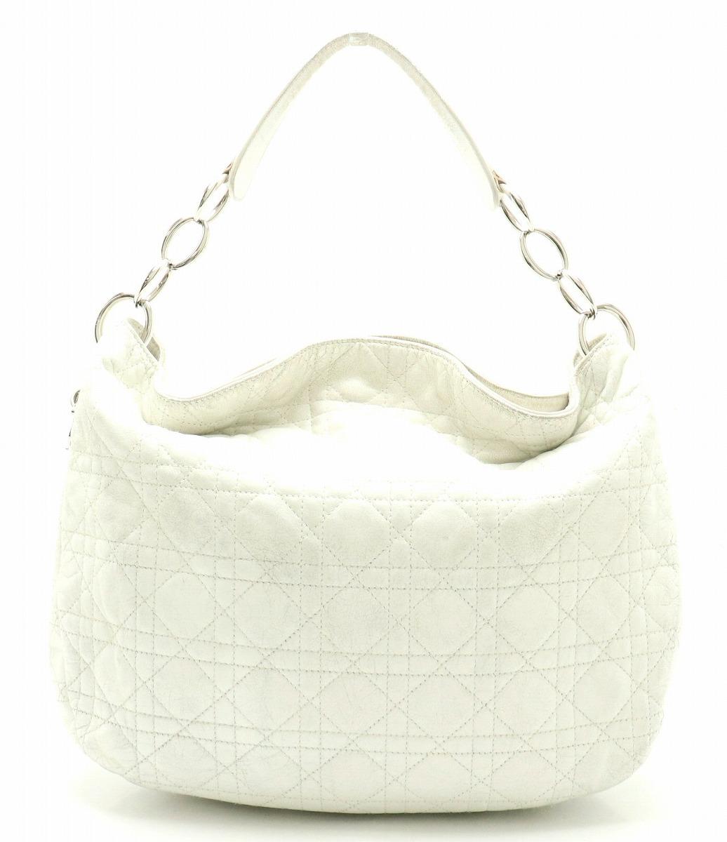 【バッグ】Christian Dior クリスチャン ディオール レディディオール カナージュ ステッチ ハンドバッグ ホワイト 白 シルバー金具 05-BN-0037 【中古】【k】
