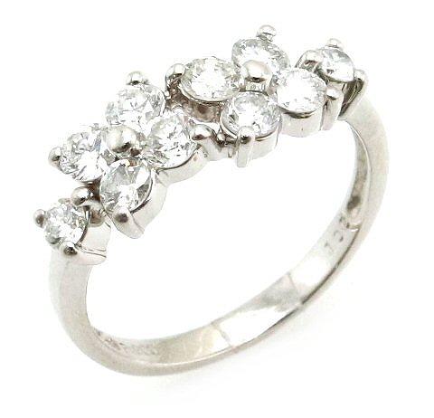 【ジュエリー】【新品仕上げ済み】プラチナ ファッションリング 指輪 ダイヤモンド ダイヤ フラワーモチーフ D1.00ct Pt900 プラチナ900 #11.5 11.5号 【中古】【k】