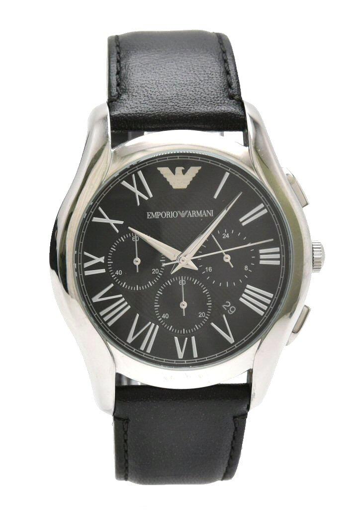 【ウォッチ】EMPORIO ARMANI エンポリオ アルマーニ クロノグラフ デイト ブラック文字盤 SS 革ベルト メンズ QZ クォーツ 腕時計 AR 1700 AR-1700 【中古】【k】