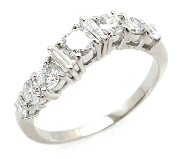 【ジュエリー】【新品仕上げ済み】プラチナ ファッションリング 指輪 ダイヤモンド ダイヤ ペーパーダイヤ D1.01ct Pt900 プラチナ900 #15 15号 【中古】【k】