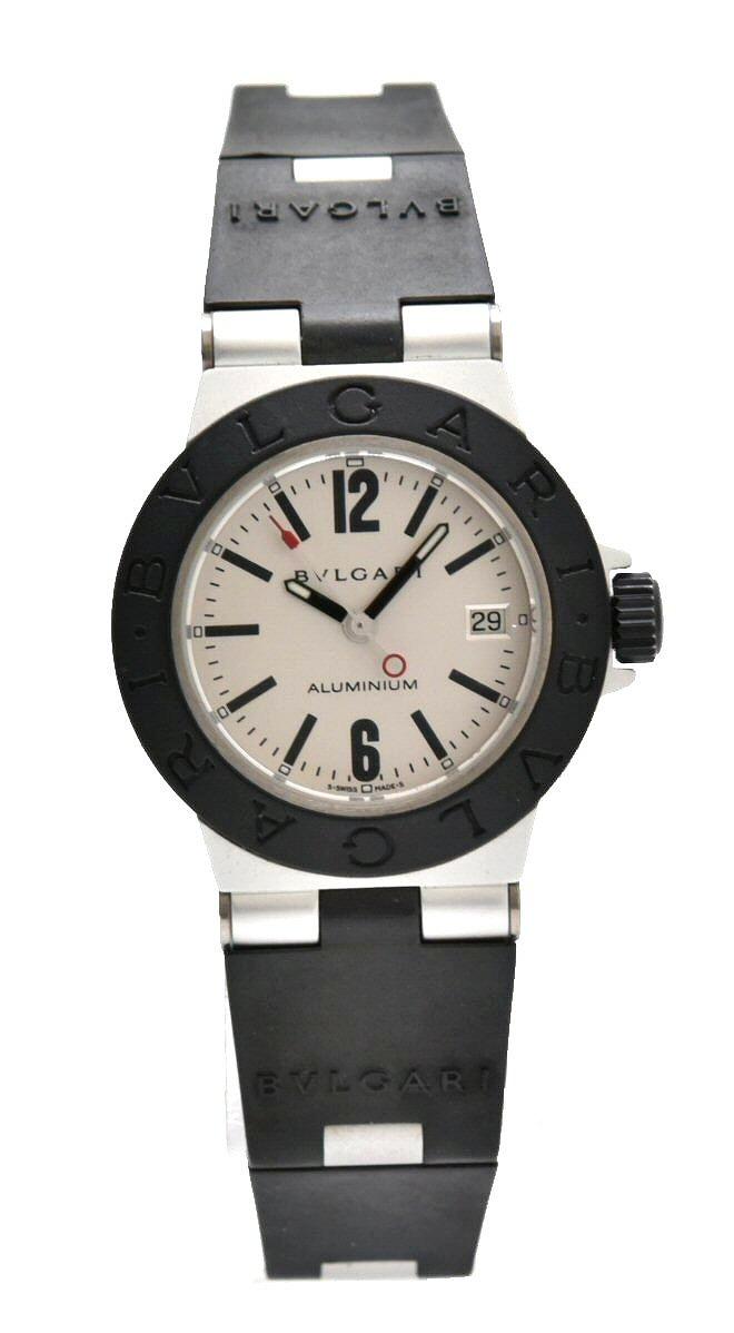 【ウォッチ】BVLGARI ブルガリ アルミニウム 29MM デイト シルバー文字盤 レディース QZ クォーツ 腕時計 AL29TA AL29TAVD 【中古】【k】