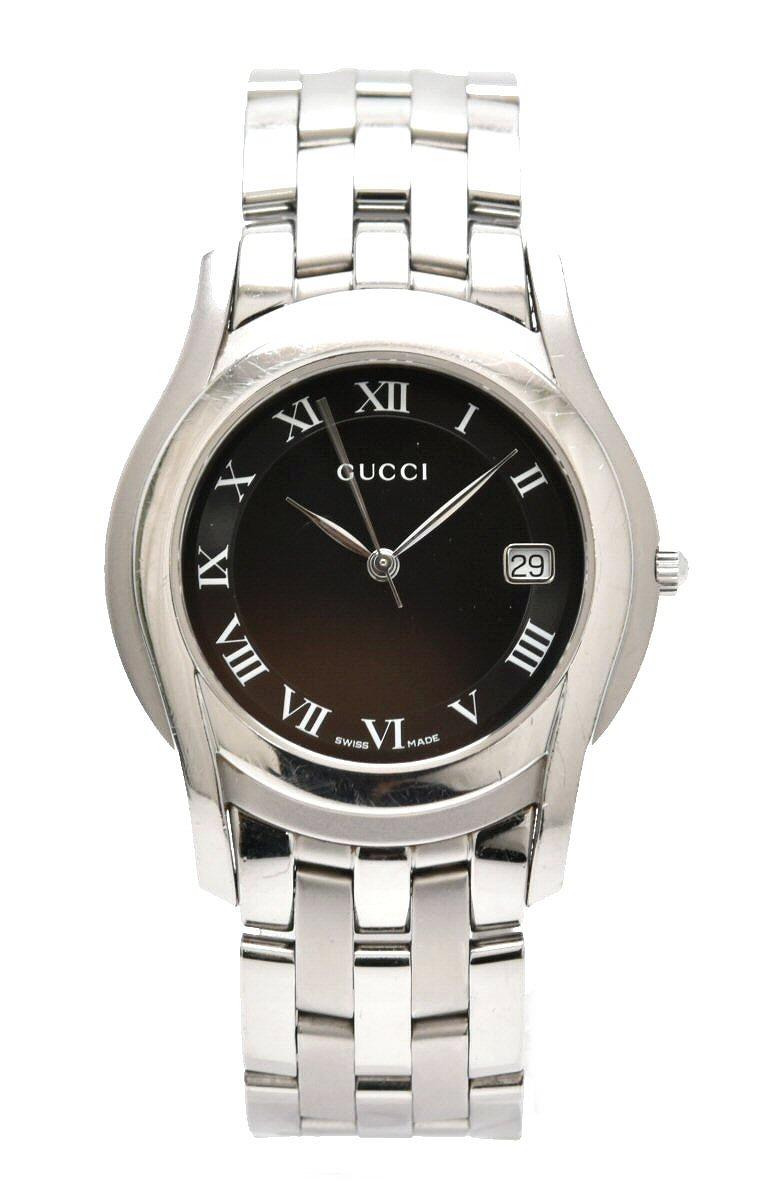 【ウォッチ】GUCCI グッチ ブラック文字盤 デイト メンズ QZ クォーツ 腕時計 5500M 【中古】【k】