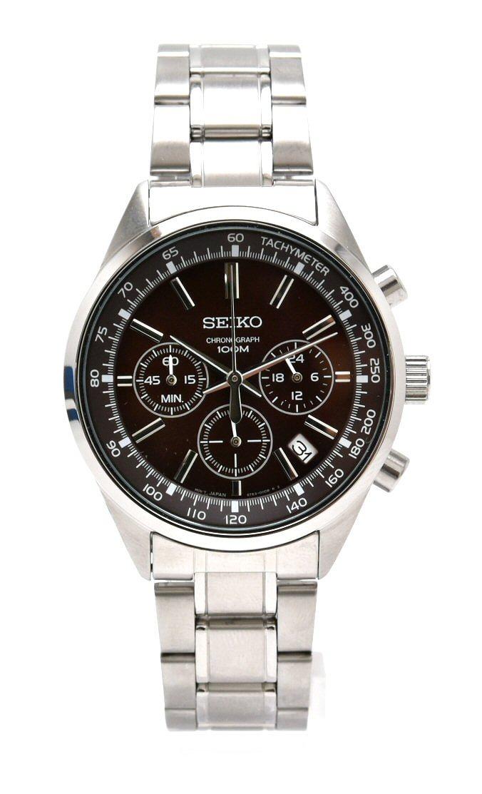 【ウォッチ】SEIKO セイコー クロノグラフ デイト ブラウン文字盤 メンズ QZ クォーツ 腕時計 6T63-00B0 SSB041P1 【中古】【k】