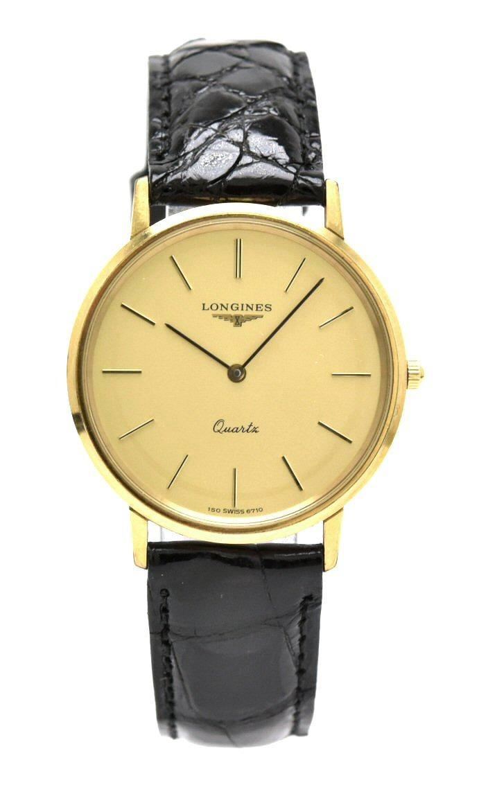 【ウォッチ】LONGINES ロンジン ゴールド文字盤 GP 革ベルト メンズ QZ クォーツ 腕時計 【中古】【k】