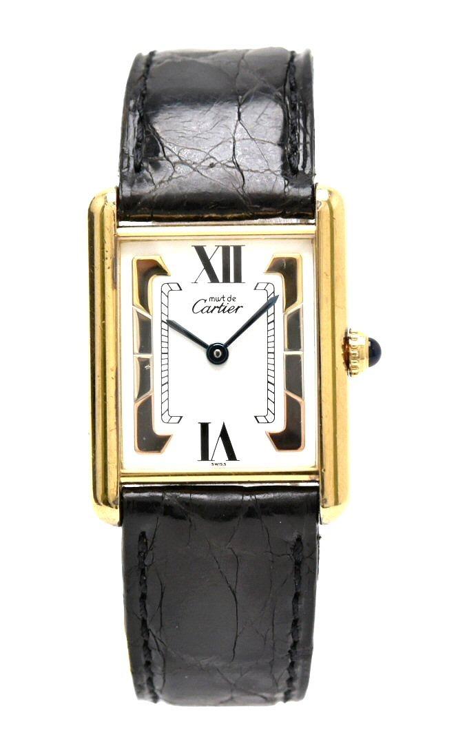 【ウォッチ】Cartier カルティエ マストタンク LM SV925 ヴェルメイユ Dバックル ホワイト文字盤 スリーカラー メンズ QZ クォーツ 腕時計 【中古】【k】
