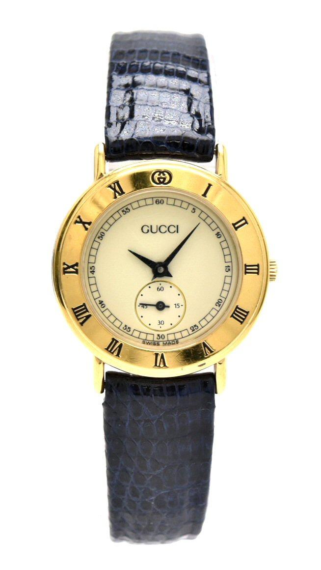 【ウォッチ】GUCCI グッチ スモールセコンド アイボリー文字盤 リザードベルト GP ゴールドメッキ レディース QZ クォーツ 腕時計 3000.2L 【中古】【k】