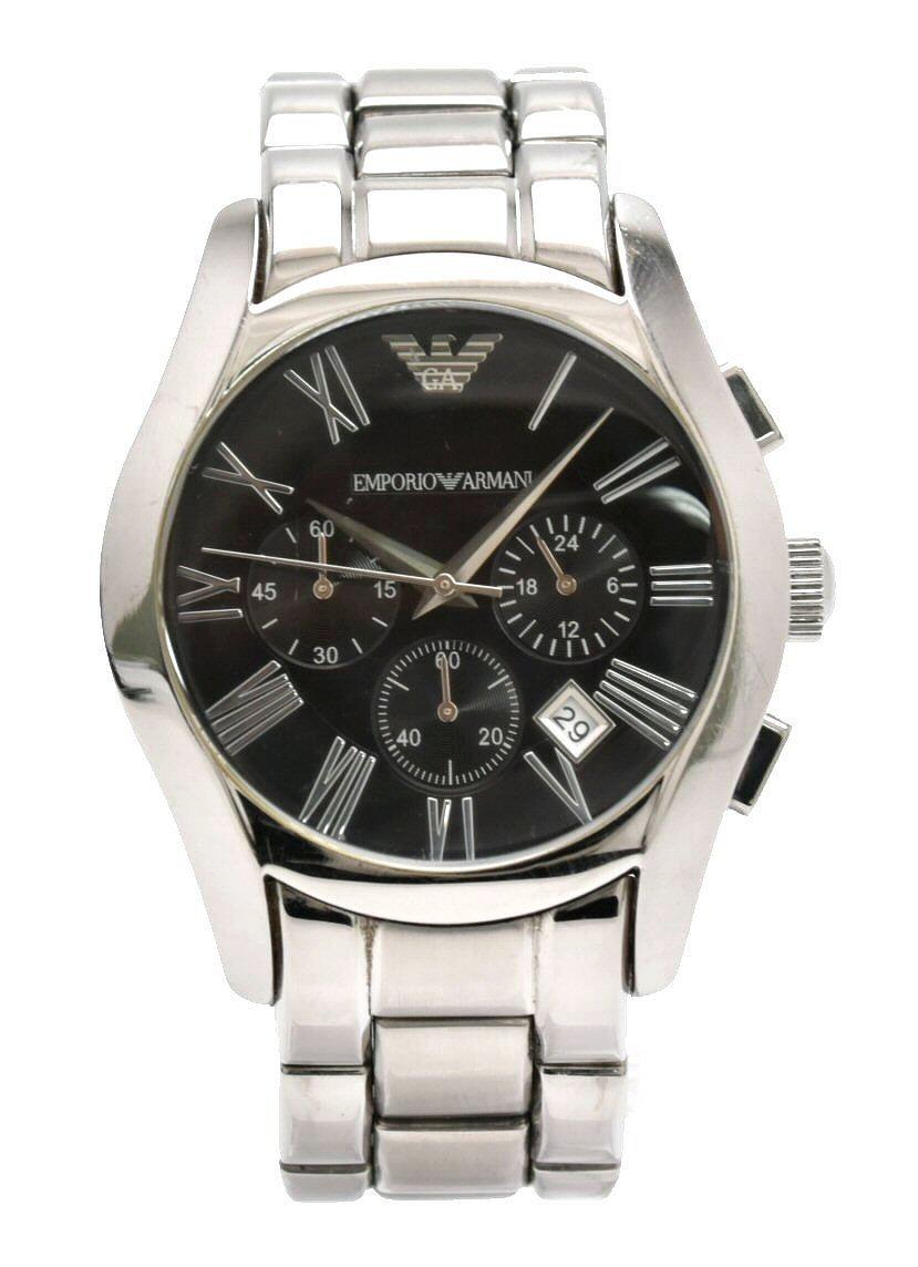 【ウォッチ】EMPORIO ARMANI エンポリオ アルマーニ クロノグラフ デイト ブラック文字盤 クォーツ メンズ 腕時計 AR-0673 AR0673 0673 【中古】【k】